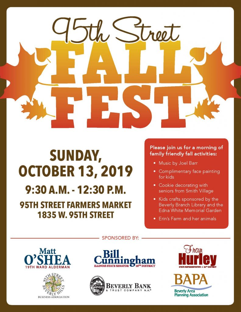 2019 Fall Fest flyer announcing the date of Sunday October 13 from 9:30 to 12:30 pm in the Farmers Market location